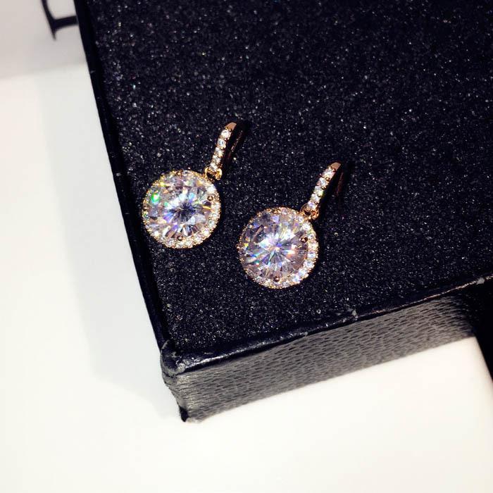 Atacado-Super brilhante! popular, moda designer de moda luxo simples diamante zircão brincos bonitos para ouro, prata mulher meninas