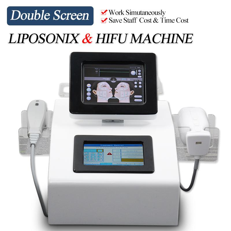 Sigara Cerrahi Liposonix vücut zayıflama makinesi çift ekran yüksek yoğunluklu ultrason HIFU yüz germe Liposonix yağ azaltma cihazı duruldu