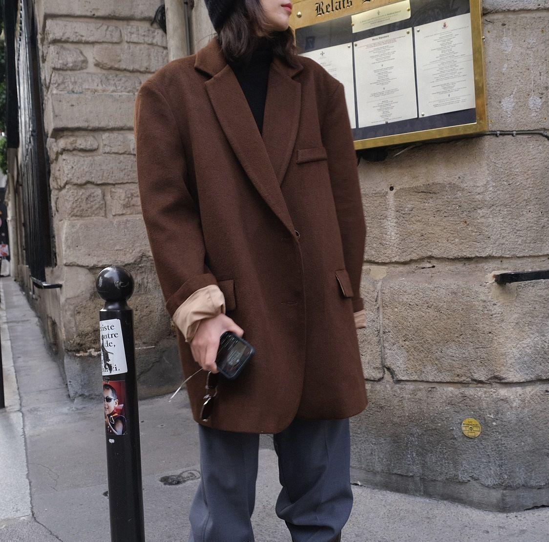 شتاء جديد الموضة الصوف الصوف كبيرة الحجم تناسب معطف فضفاض تصميم المتوسط والطويل الإناث معطف