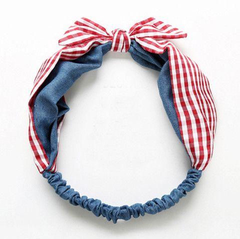Girls polka dots Bows chiffon headbands fashion love heart printed princess hairbands for plaid stereo rabbit ear elastic headdress 8312