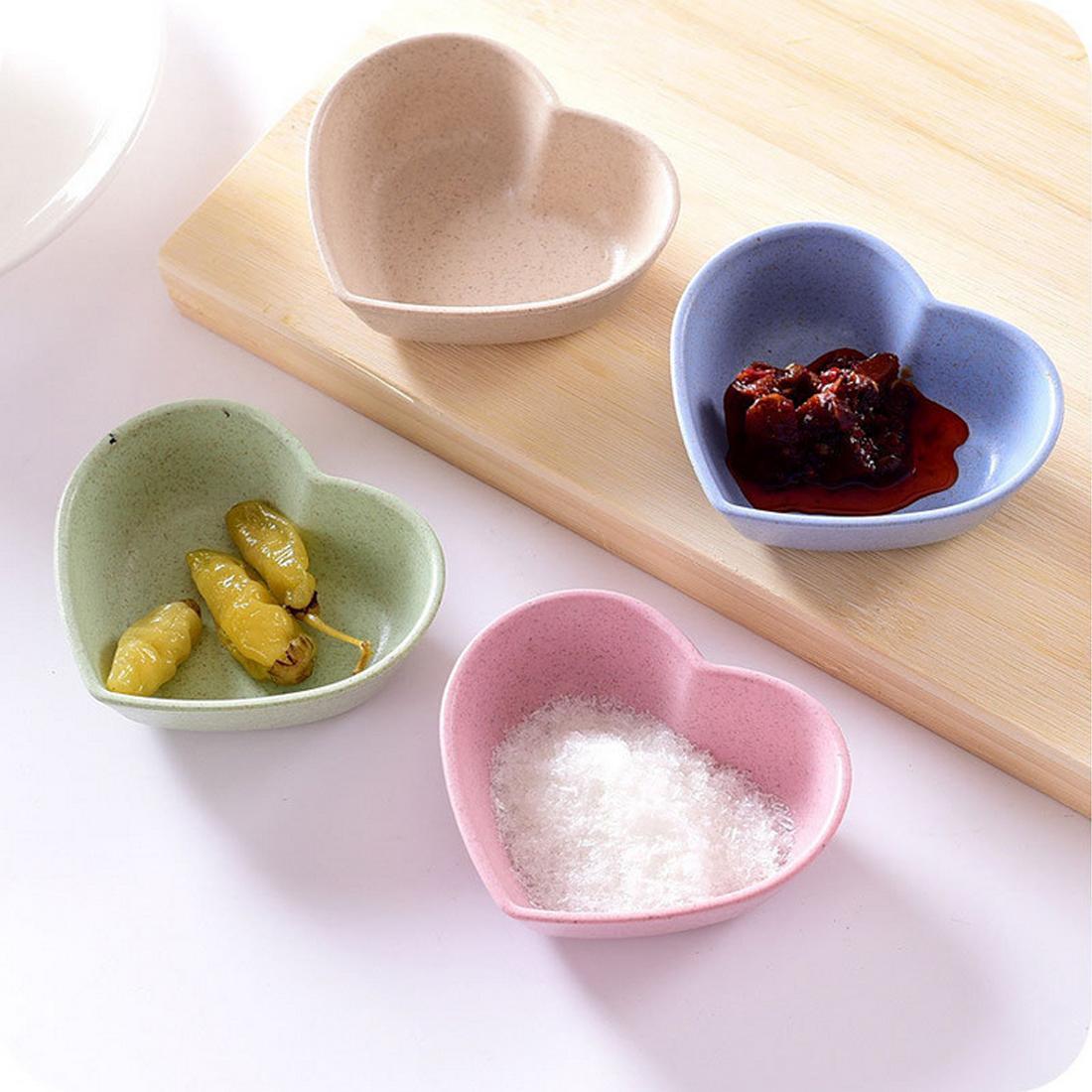 Yaratıcı Mutfak Aşk Kalp Şekli Buğday Straw Bowl Sirke baharat Katı Soya Bulaşık Sos Tuz Snack Küçük Tabak