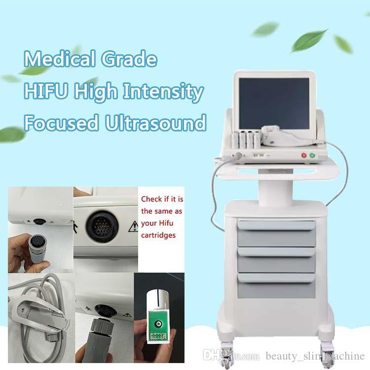 Spa portátil Hifu Hifu de alta intensidad enfocado por ultrasonido Hifu cara lifting corporal hifu eliminación de arrugas máquina de belleza estiramiento de la piel 5 cartucho