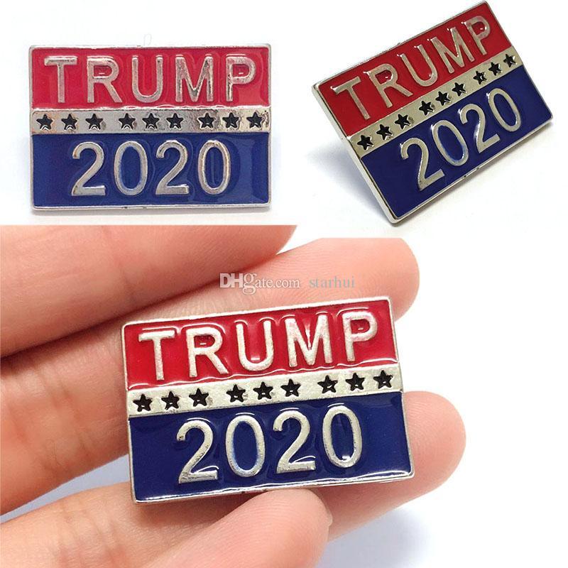 Trump 2020 Broches de diseñador para la elección presidencial Broches de metal Joyería de lujo Mujeres Hombres Broches Regalos a favor del partido DHL WX9-1386