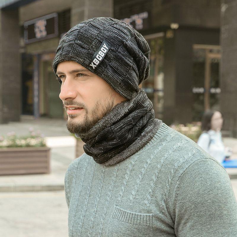 COU Bonnet tricoté écharpe Ensemble doublure en laine épaisse fourrure Réchauffez tricot d'hiver Chapeau pour Beanies Hommes Femmes Cap Bonnet Skullies garder au chaud