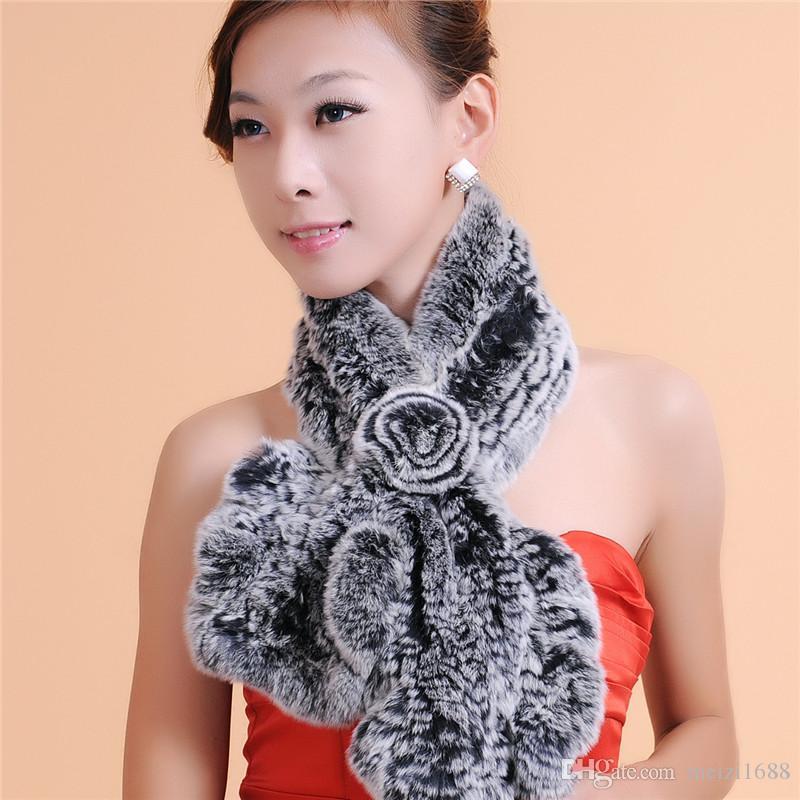 Женщины теплый переплетения меховой шарф высокого качества модные аксессуары женщины зима теплый шарф 100% мех Бесплатная доставка