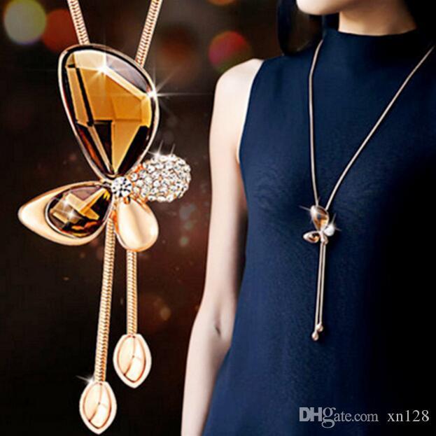 Presentes Retro cristal pingente de borboleta 925 Moda colar de corrente camisola jóias artesanais Sorte Amuleto para Sua mulher