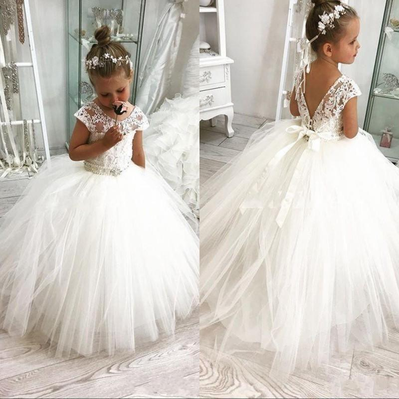 Newest White Ball Gown Flower Girl Dresses For Weddings Jewel Backless Short Sleeve Sash Beading First Communion Dress Kids Birthday Gowns