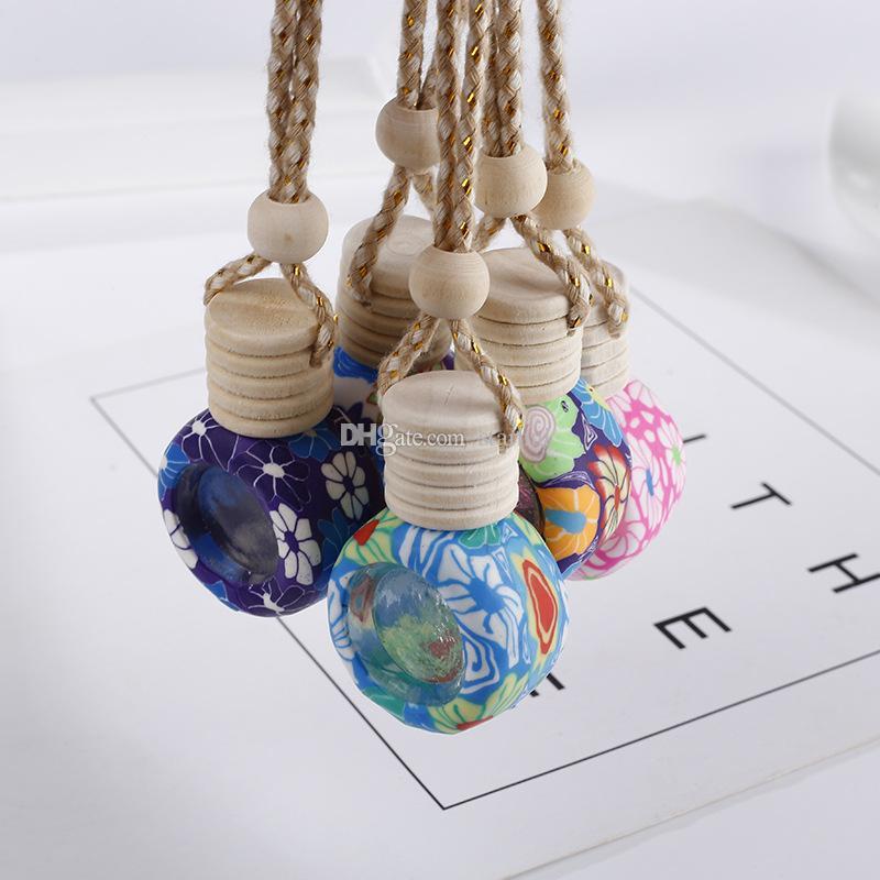 Bottiglia di profumo a Hanging retrovisore Ornamento Deodorante per gli oli essenziali diffusore di profumo bottiglia di vetro vuota Pendant DHL WX9-1823