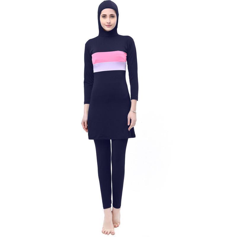 2 pcs Muslim Large Size Swimsuit Women's Conservative Swimwear Islamic Beach Dress Bathing Swim Surf Wear Sport Bikinis S-5XL