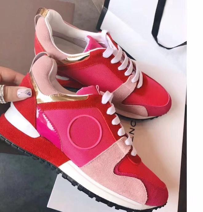 NEW Designer sneakers Woman Man Shoes Leather Mesh Mixed 6Color Trainer Runner Shoes Unisex Size US 4-11