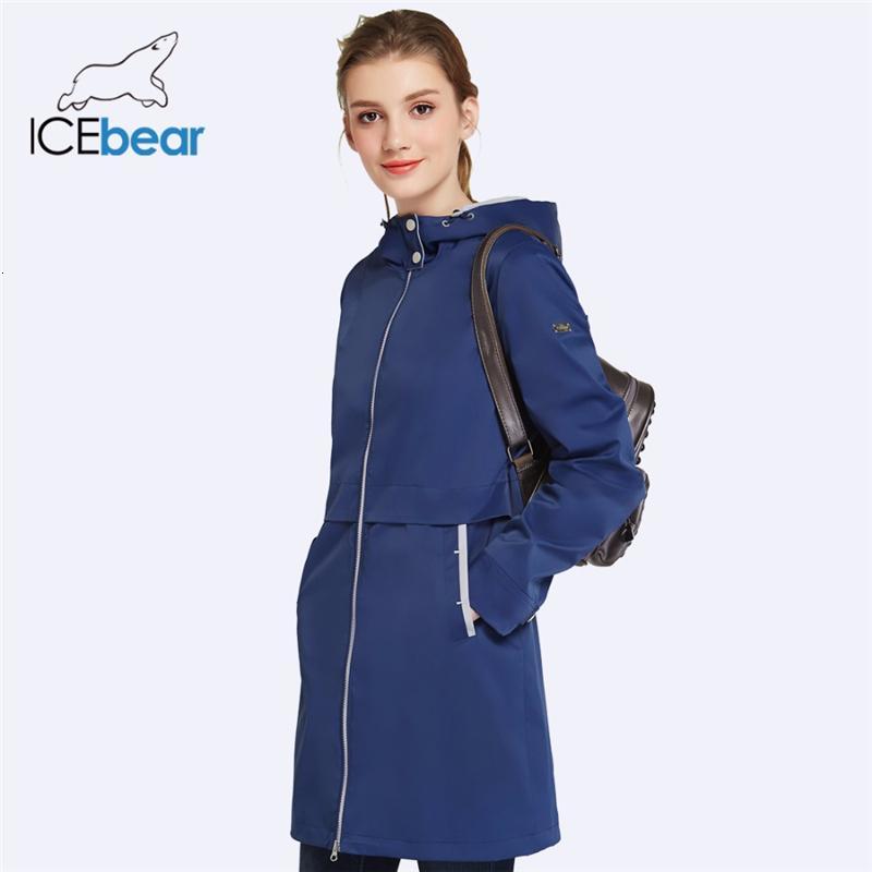 Icebear 2019 Autunno Abbigliamento Donna solido di colore a maniche lunghe casuale nuova delle donne stand bavero del cappotto tasche Trench 17G122D V191128