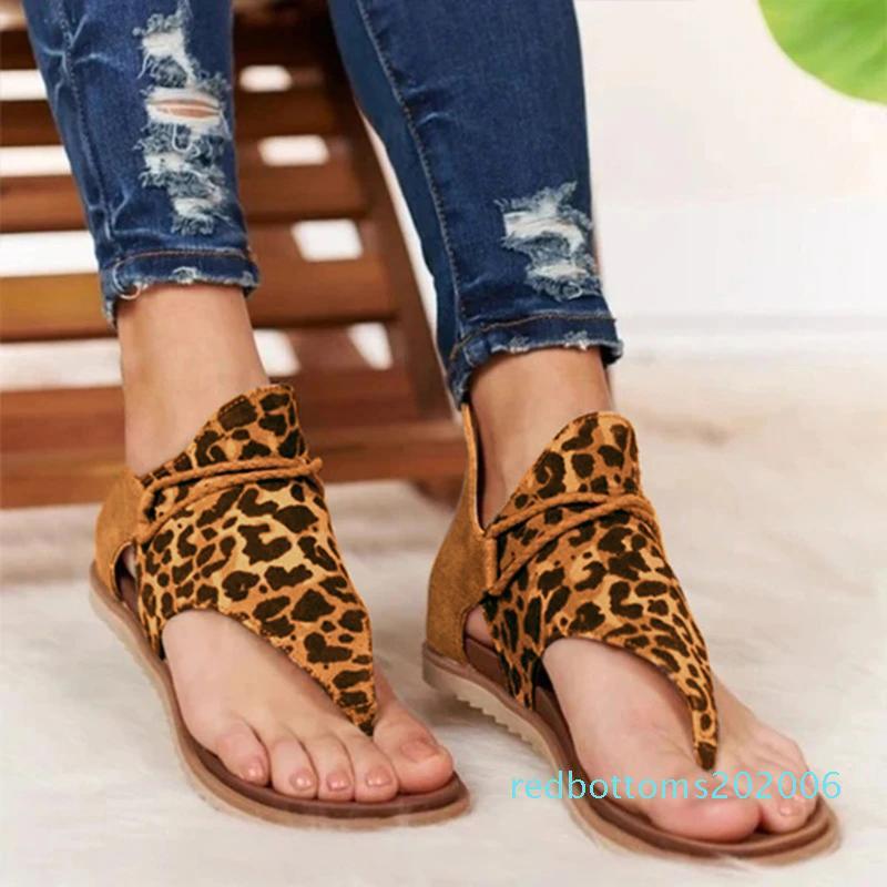 donne di estate di sandali dei pattini degli appartamenti Clip-Toe Donna della Boemia sandalias leopardo Pattino casuale zebra serpente sapato feminino zapatos de r06