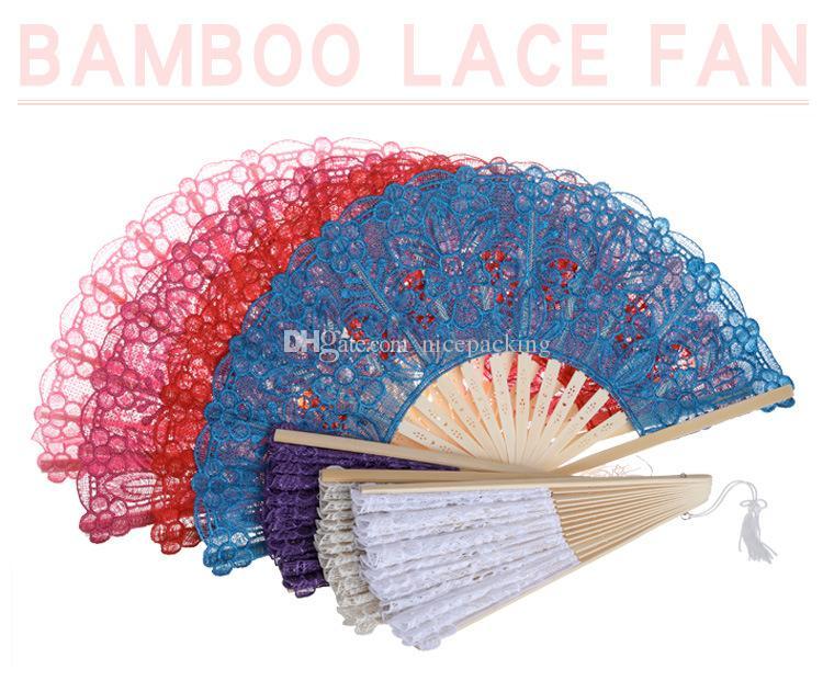 Ventaglio pieghevole di bambù del ventilatore di mano del pizzo delicato fatto a mano Prestazioni della fase / matrimonio / partito / regalo 7 colori per la vostra scelta trasporto libero