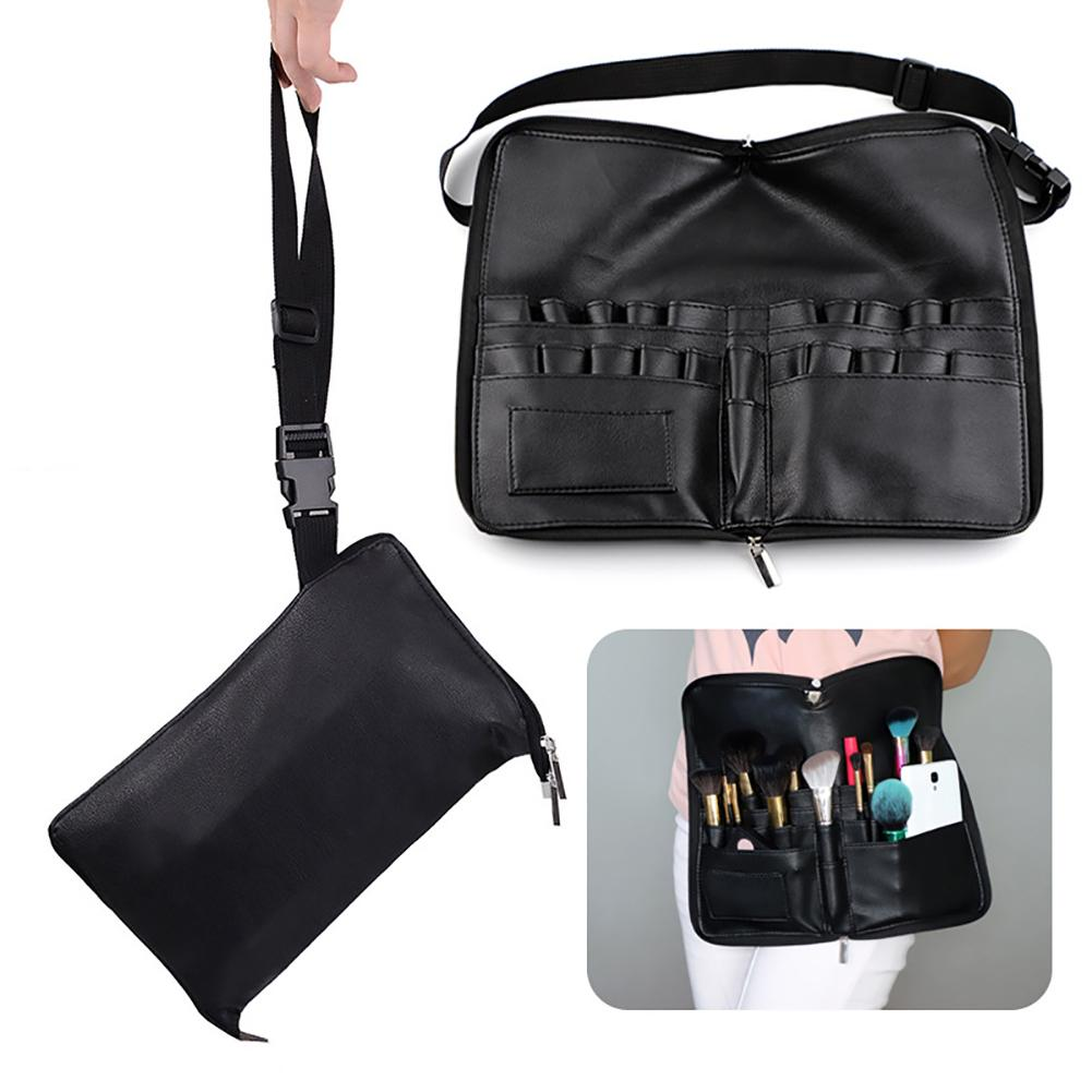 28 Pockets Zipper Closure Makeup Brush Bag Foldable Apron Type Portable Professional PU Leather Tools Organizer Lightweight