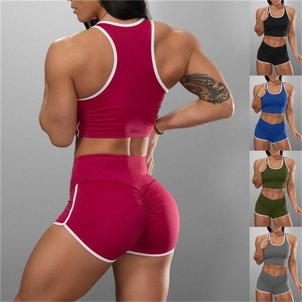 5 Couleur Sport Deux Shorts Piece solides Tanks cultures couleur haute taille Shorts Ensembles Costumes Femmes Fitness