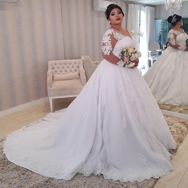 Plus Size Wedding Dresses Sheer Neck Backless Long Sleeve Sweep Train Illusion Bodice Appliques Chapel Garden Bridal Gowns vestidos de novia
