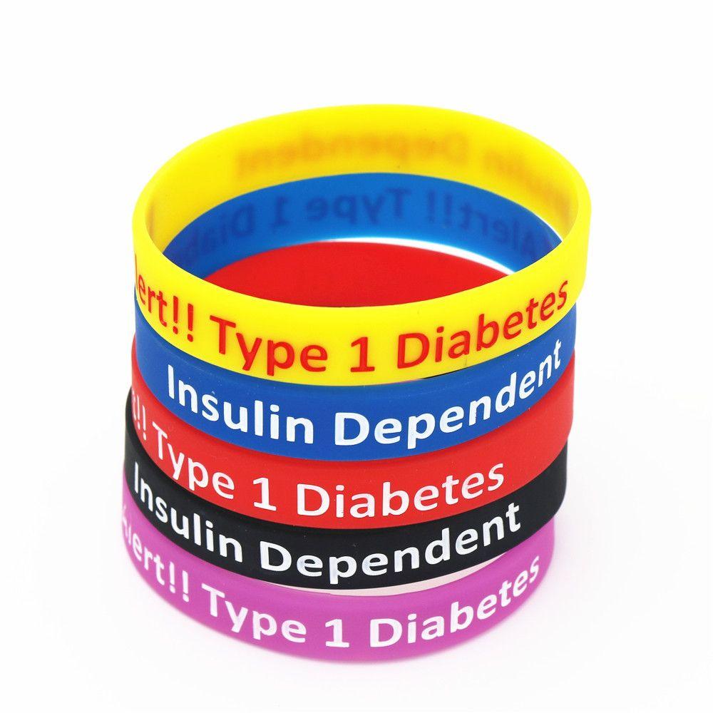 Outras pulseiras 1 pc diabético alerta tipo 1 diabetes dependente silicone pulseira braçadeira pulseira gits sh043