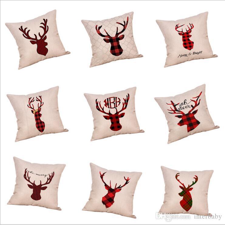 Cojín de Navidad de Halloween Funda de almohada cubierta Cubierta de Navidad raya la tela escocesa de lino Caso del sofá amortiguador de la almohadilla de la cubierta del hogar del regalo de color 59 DYP6233