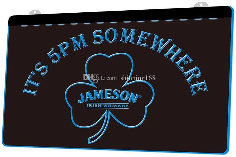 LS780-g-It-s-5-am-Somewhere-Shamrock-Jameson-neon-Sign.jpg Dekor Ücretsiz Kargo Dropshipping Toptan 8 renk seçmek için