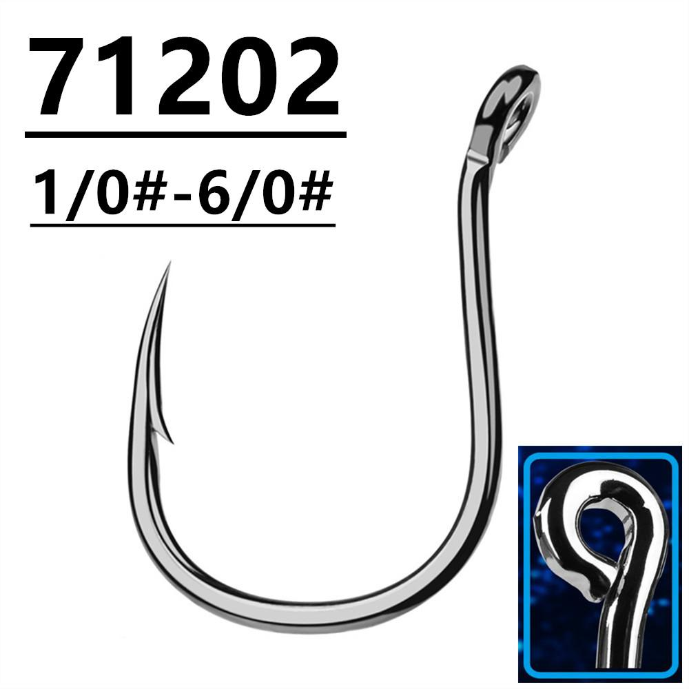 100pcs 1/0#-6/0# 71202 Kudako Jig Hook High Carbon Steel Barbed Fishing Hooks Fishhooks Pesca Fishing Tackle Accessories A-035