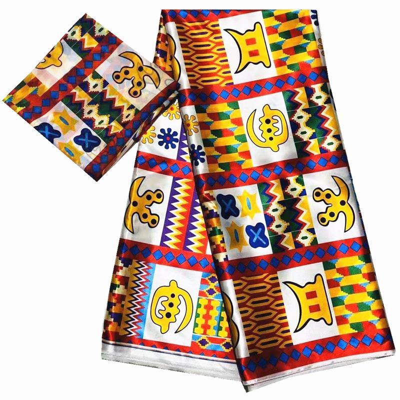 vendita all'ingrosso 2020 tessuto di seta imitato stampa tessuto africano nigeriani tessuti Ankara stampe africano della cera per 6yards partito per T200529 panno