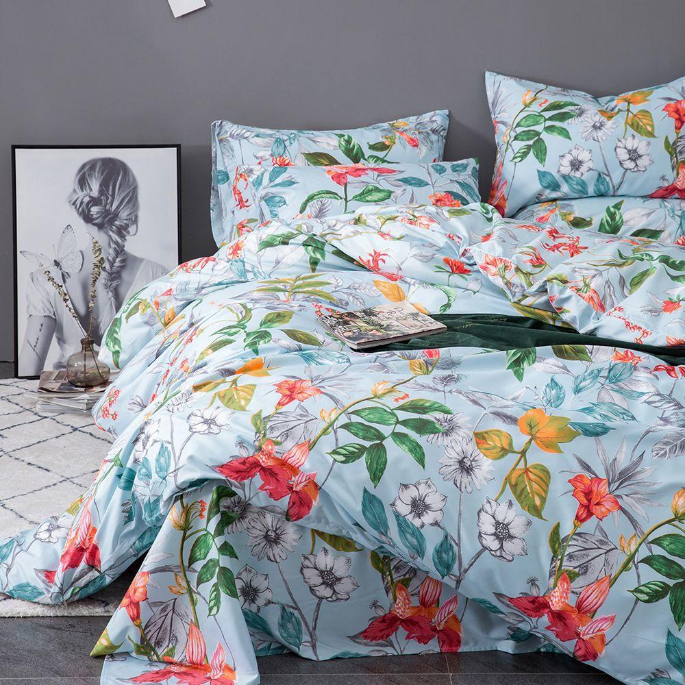 Soft cozy Duvet Cover Set 3PC Comforter Cover Set beautiful flowers printing bedding set Hotel Quality