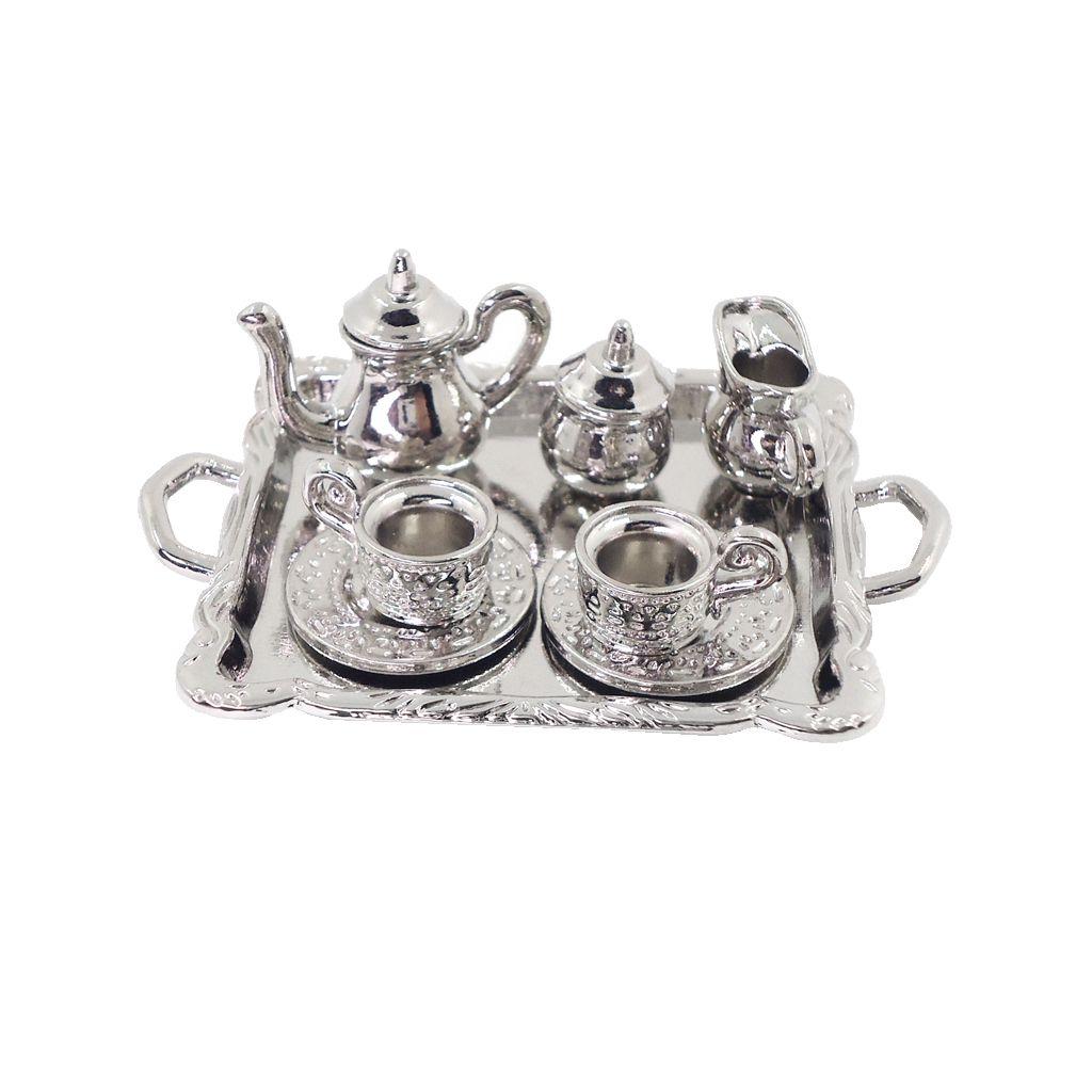 10 piezas 1:12 Casa de muñecas Miniatura de metal plateado Juego de café Vajilla Lo mejor para casas de muñecas, caja de habitación, modelo de casa