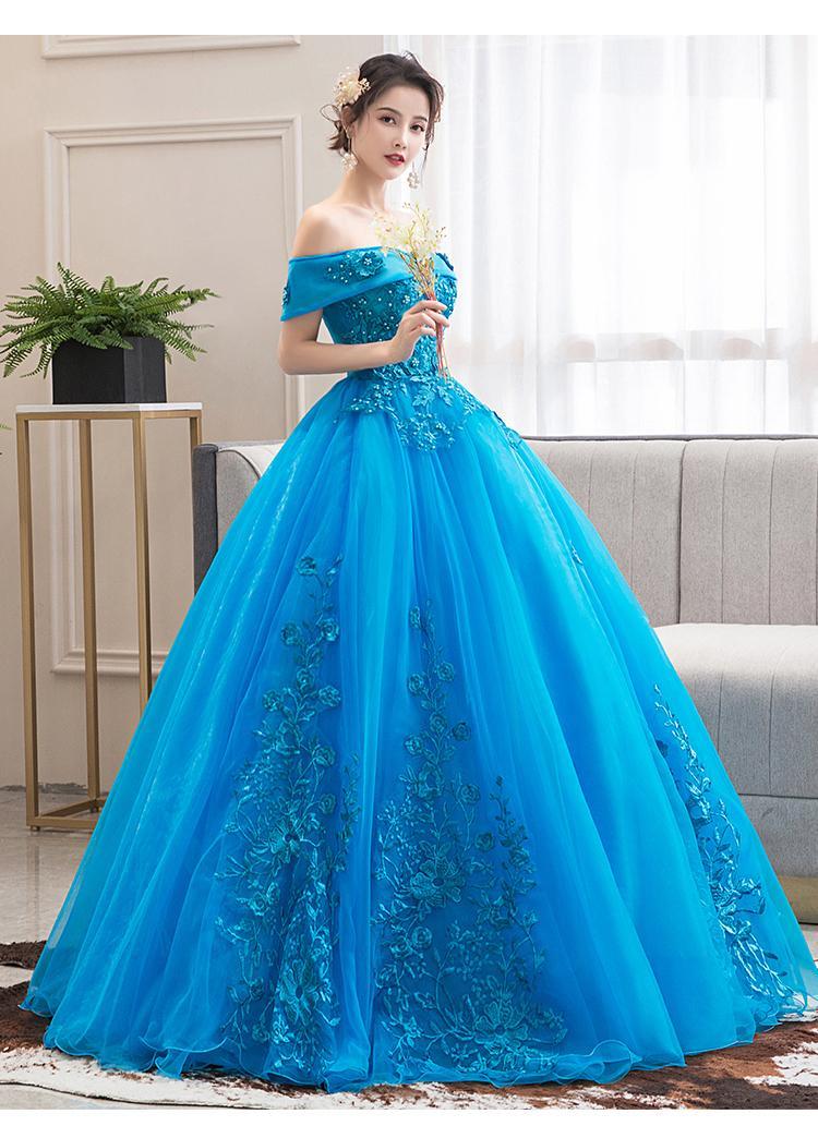 slash Kragen See blaue Blume Stickerei Ballkleid Königin Kleid mittelalterliches Kleid Renaissance Kleid königliche viktorianisches Kleid / Prinzessin Cosplay Kugel