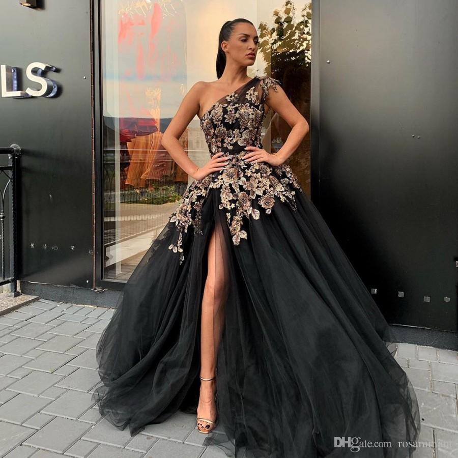 Black Beaded Side Split Evening Dresses One Shoulder Flower Appliqued Prom Gowns A Line Sweep Train Tulle Plus Size Formal Dress