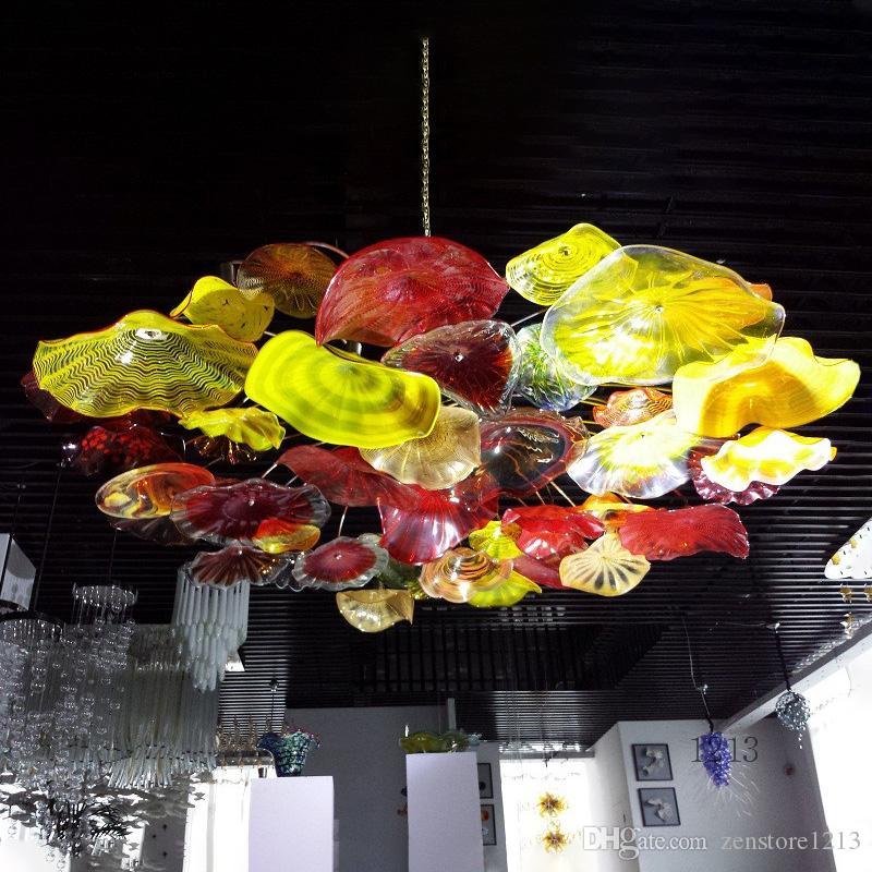 أضواء السقف LED الحديثة الثريات لغرفة المعيشة تناول الطعام مصباح غرفة زجاج مورانو الثريات عاكس الضوء الإضاءة فندق مطعم حزب