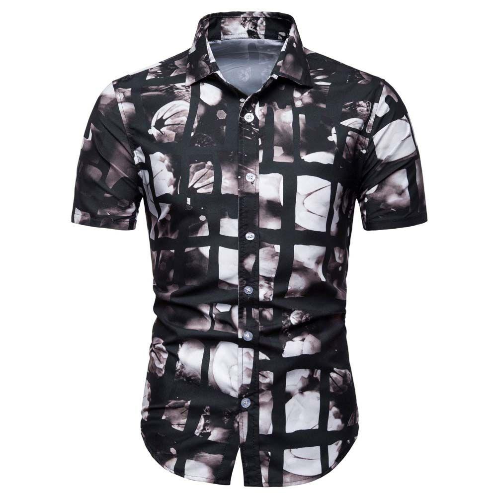 Mens Lapel Slim Stylish Tops Button-Down Casual Dress Shirts