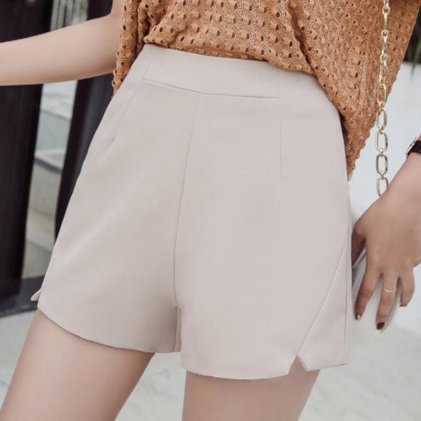 Elegante dünne Kurzschlüsse Frauen schwarz weiß Aprikose Schlitz Shorts Frühling Sommer hohe Taille breite Bein eine Linie kurze feminino AQ481