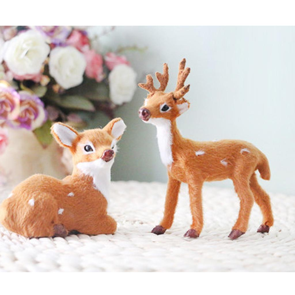 2Pièces miniature réaliste cerf Figurine Statue Modèle Accueil cadeau décoratif