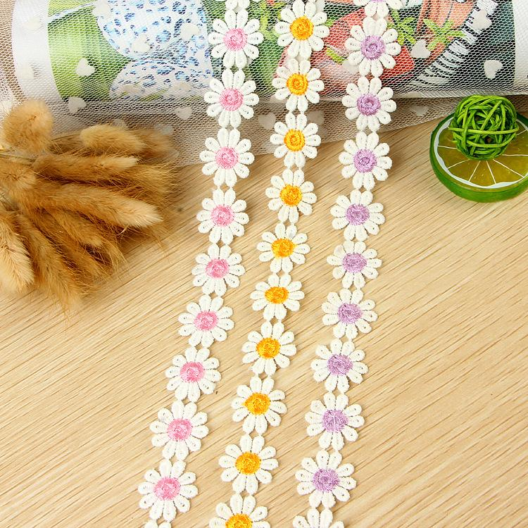 Meetee Width 2.5cm Embroidery 10petals Daisy Lace for Dress Decoration Garment Accessories DIY Crafts Lace AP2201