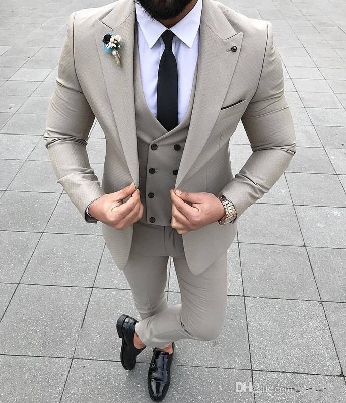 Nouveau Un bouton formel Hommes d'affaires costumes 3 pièces (veste + Gilet + Pantalon) Groomsmen Porter fête de mariage Smokings Custom Made 703