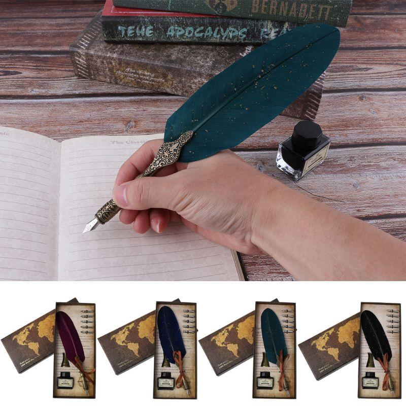 Luxury Calligraphy Feather Dip Pen Writing Ink Set Stationery Gift Box with 5