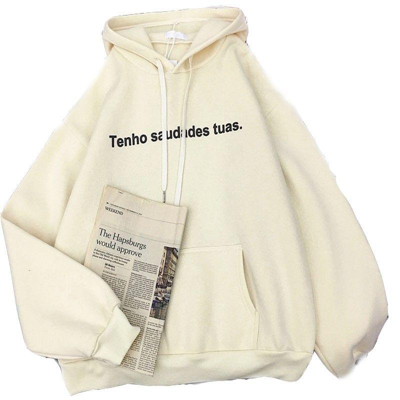Women's Hoodies & Sweatshirts Zuolunouba 2021 Autumn And Winter Casual Women Hoodie Plus Velvet Thick Loose Letter Cotton Liner Harajuku Lad