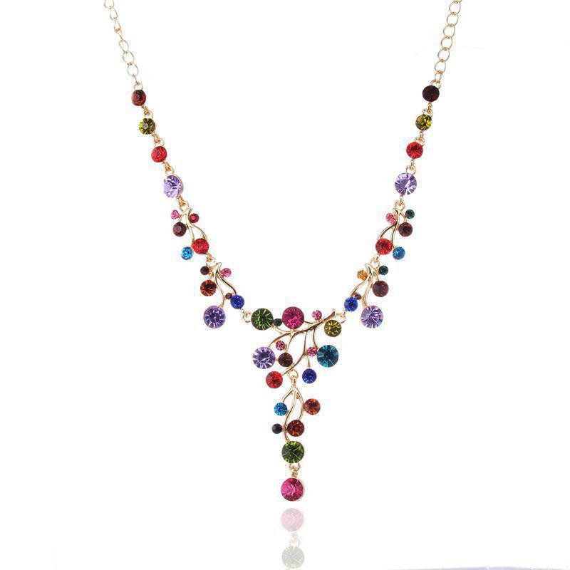 1шт классический ретро Y-образный цвет Кристалл ключицы ожерелье популярная личность свитер ожерелье кулон женский подарок