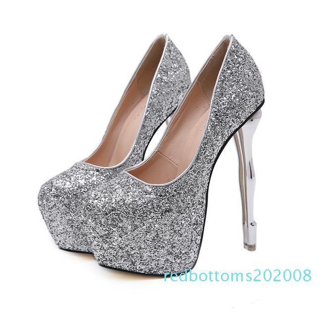 серебро золото 2020 блестки блестками платформа ультра высокий каблук 16 см странные каблуки дизайнерские насосы свадебные туфли r08