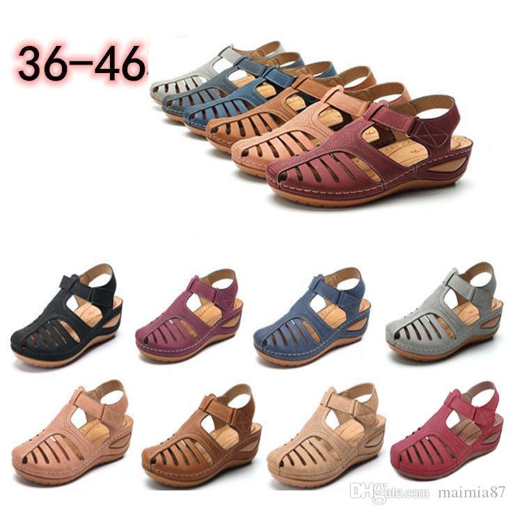 Toptan Bayanlar için Büyük boy EUR34-46 Yaz Retro Kadın Sandalet Olmayan slipHoles Ayakkabı Yuvarlak Kafa Kama Rahat Hollow Sandalet