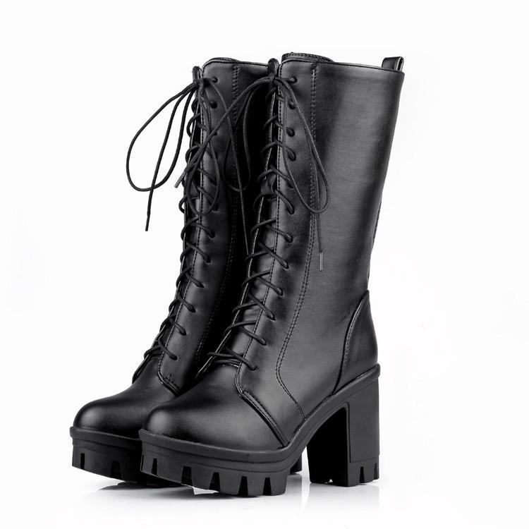 GOXPACER Autunno Inverno Wedge Boots Scarpe metà polpaccio Women Heel Casual stivali Martin Scarpe nappa piattaforma Plus Size allacciatura Nuovo