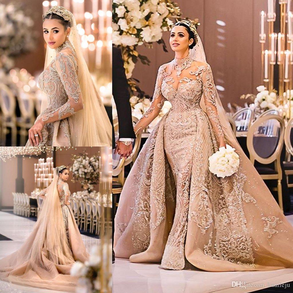 Modest Hohe Kragen Langarm Mermaid Brautkleider mit abnehmbarer Zug-Spitze-Hochzeits-Kleid-Kristall robe de mariée