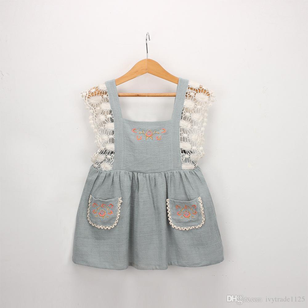 Vintage Lolita estilo niña niños ropa vestido flor diseño bordado vestido de liga con encaje decoración niña vestido de verano