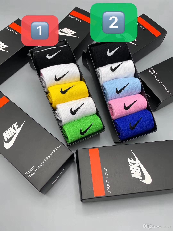 5 pezzi scatola molto 20ss sport Designer Mens Fashion Street di marea calzini di marca casual in cotone traspirante e con 5 colori Skateboard Hip Hop Socks Maschio