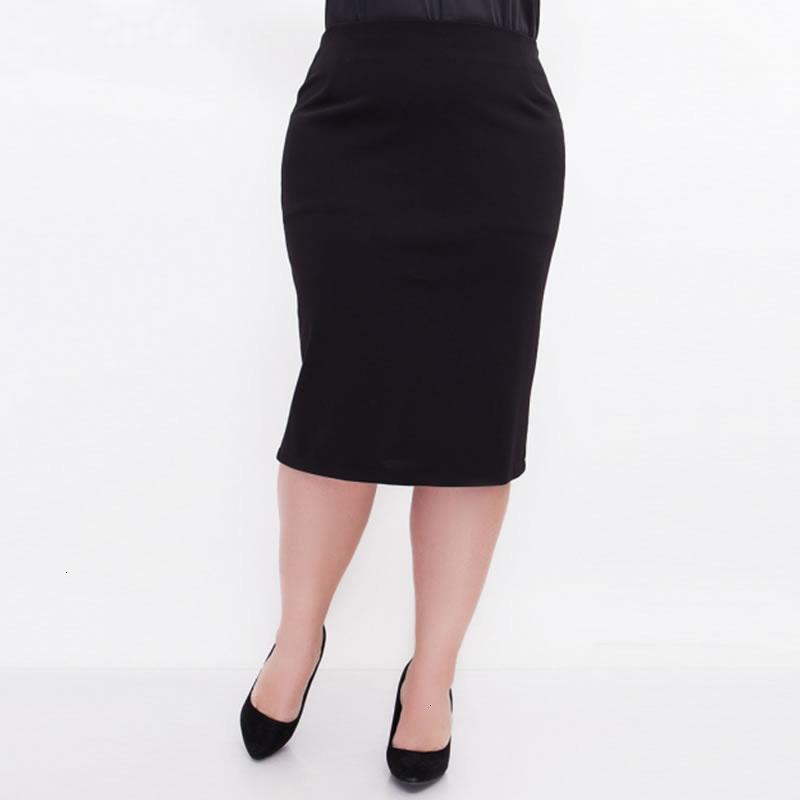 Nero Gonne Gonna 5Xl 6XL 2019 estate di modo delle donne sexy gonna a vita alta Ol Plus Size casuale sottile nero dei pannelli esterni Saias