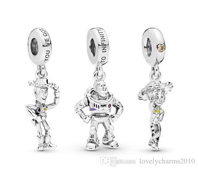 يناسب باندورا أساور 20 قطع الكرتون لعبة المينا قلادة سحر الخرز الفضة سحر الخرزة للنساء diy الأوروبية قلادة المجوهرات