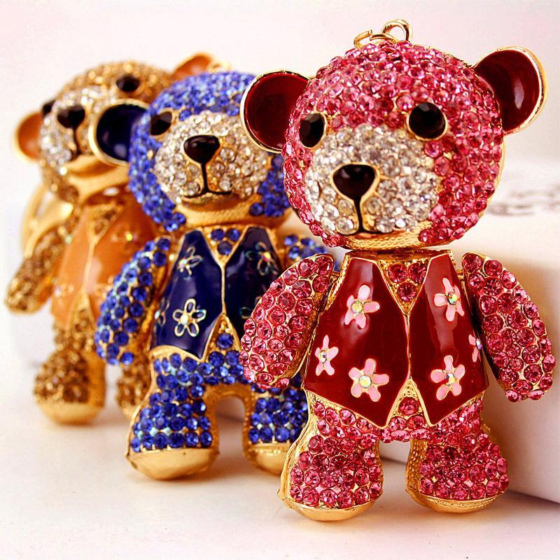 incrustée de diamants Creative mignon de Super Big Bear porte-clés ours animaux pendentif en métal porte-clés petit cadeau