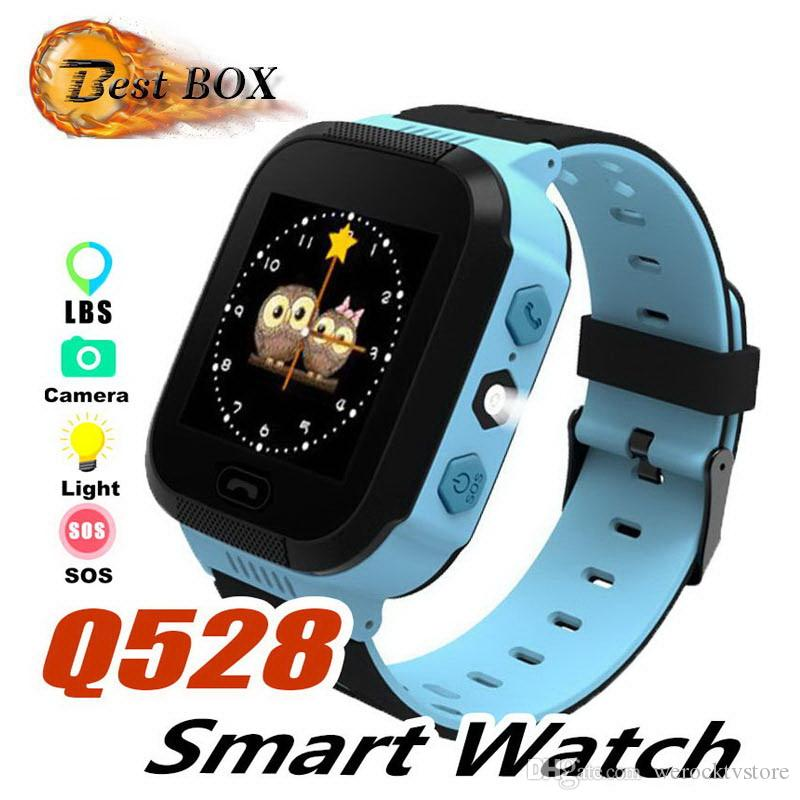 2019 Sport Q528 Kids Tracker Smart Watch with Flash Light Touchscreen SOS Call LBS Location Finder for kid Child PK Q50 GPS tracker in box