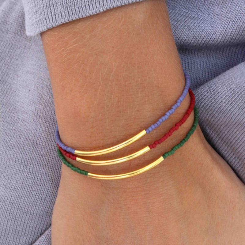 متعدد الطبقات أنابيب النحاس الخرز رايس سوار بالجملة الأحمر الأخضر الأزرق مطرز سوار معدني ثلاثة قطعة مجموعة أزياء ومجوهرات بسيطة