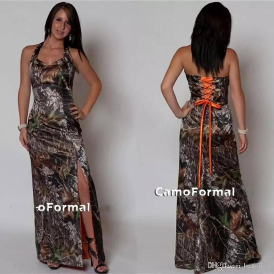 Plus Size Paese Prom Dresses Camo abiti da damigella d'onore Split Side Lace-up Back Camouflage stampa lungo piano Lunghezza
